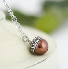 Acorn Necklace  Antique Silver and Rich Bronze by JacarandaDesigns, $23.00