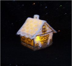 Machine embroidered gingerbread cottage