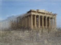 Photograph: Acropolis of Athens, Greece.  Switzerland-based Corinne Vionnet combines tourist photos into one, after conducting an online keyword search and sifting through photo sharing sites.  This Swiss/French artist carefully layers 200 to 300 photos on top of one another until she gets her desired result.  Through this process you'll see dim shadows, vague silhouettes wandering aimlessly inciting our haunting fading memories and the reminder of the inevitable passage of time.
