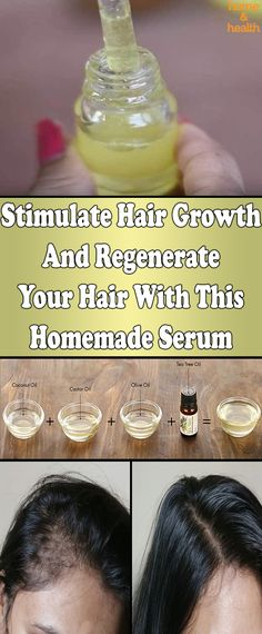 Hair Remedies With the help of this remedy you can expect hair growth much faster, make your hair stronger and shinier. The mixture also supports scalp healing. Black Hair Growth, New Hair Growth, Diy Hair Growth Oil, Castor Oil For Hair Growth, Olive Oil Hair Growth, Hair Growth Shampoo, Healthy Hair Growth, Hair Remedies For Growth, Hair Growth Treatment