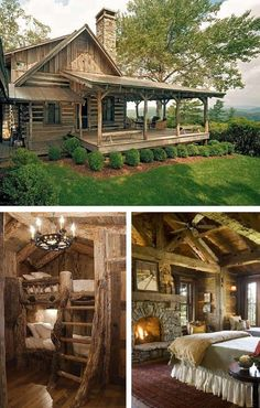 Real Log Cabin Homes - Take A Virtual Tour - A rustic log house with the terrace and very nice interior. More on / … Real Log Cabin Homes - Take A Virtual Tour - A rustic log house with the terrace and very nice interior. Log Cabin Living, Cottage Living Rooms, Log Cabin Homes, Log Cabins, Rustic Cabins, Rustic Homes, Small Log Cabin, Mountain Cabins, Western Homes