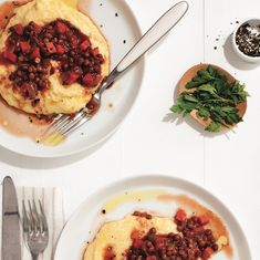 Thanks to last night s lentil bolognese tonight the leftovers can be transformed into a lentil ragu served over creamy polenta Lentil Recipes, Veggie Recipes, Vegetarian Recipes, Cooking Recipes, Veggie Meals, Healthy Recipes, Lentil Ragu, Lentil Bolognese, Dried Lentils