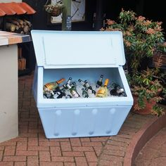 Wybone designs and manufactures street furniture including litter bins, recycling bins, grit bins and clinical waste bins. Garden Parties, Street Furniture, Recycling Bins, Summer Garden, Pastel Blue, Cold Drinks, Repurposed, Ice, Retro