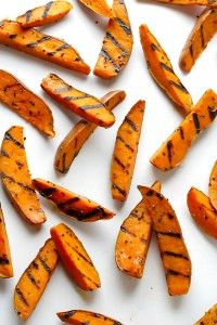 Grilled Sweet Potato Fries - They are simple to make, as you just parboil them inside and then finish them on the grill outside.-3 lbs. sweet potatoes, scrubbed and rinsed ¼ cup Carlini Extra Virgin Olive Oil 1-2 tsp. Sea Salt, or to taste ½ tsp. Black Pepper, coarsely ground