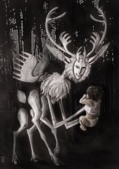 Tariaksuq- Inuit myth: a shapeshifter that kidnaped children. It's natural form was that of a half caribou, half human creature. It resided in a place between dimensions. You could never see it directly because it always stayed in your peripheral vision. Mythological Creatures, Fantasy Creatures, Mythical Creatures, Arte Inuit, Inuit Art, Myths & Monsters, Legendary Creature, Vikings, Cryptozoology