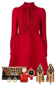 """Independent woman"" by onelittleme ❤ liked on Polyvore featuring Valentino, Christian Louboutin, Fendi, Michael Kors, David Yurman, gold, red, dress, leopard and cheetah"