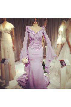 Joan Collins's wedding dress - The Iconic Wedding Dress Exhibition, in partnership with American Airlines at Brides The Show Colored Wedding Dress, Wedding Dress Styles, Designer Wedding Dresses, Nyc, Wedding Etiquette, Timeless Beauty, Looking Stunning, Purple Dress