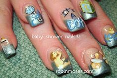 its a boy baby shower nails