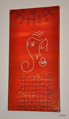 Ganesh painting with kolams on canvas (sold) © Bala Thiagarajan, 2012 Small Rangoli Design, Rangoli Kolam Designs, Beautiful Rangoli Designs, Ganesha Drawing, Ganesha Painting, Acrylic Painting Canvas, Canvas Art, Diy Diwali Decorations, Festival Decorations
