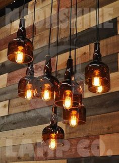 The Gran Marnier Recycled Liquor Bottle Square Chandelier With Metal Canopy and Vintage Style Edison Bulbs - Modern Rustic Decor Rustic Lighting, Lighting Design, Lighting Ideas, Outdoor Lighting, Modern Lighting, Entrance Lighting, Exterior Lighting, Vintage Lighting, Luminaire Original