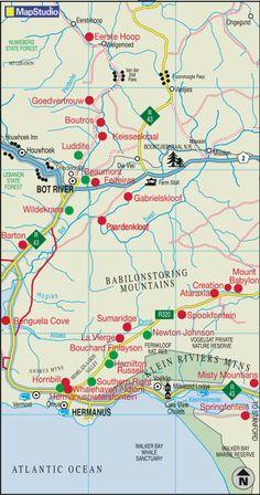 Hermanus wine route map South African Wine, Seaside Village, Heaven On Earth, Wine Drinks, Buckets, Wines, Vineyard, Road Trip, Burgundy