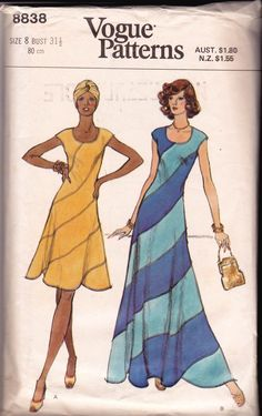 1970s Vogue 8838 Swirl Dress Vintage Sewing Pattern Boho Dress Maxi Dress Size 8 Bust 31 1/2 inches