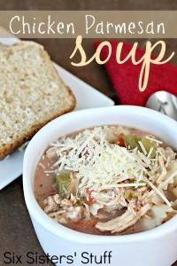 Six Sisters Slow Cooker Chicken Parmesan Soup Recipe is the perfect soup on a winter day. #sixsistersstuff