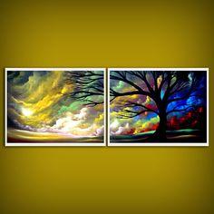 colorful tree landscape silhouette tree cloud sunset 2 piece diptych print Mattsart