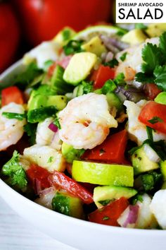 Light and refreshing, Shrimp Avocado Salad can be served as an appetizer with tortilla chips, on top of a bed of lettuce, or simply on its own! It comes loaded with perfectly cooked, tender shrimp, creamy avocado, and lime-infused veggies like cucumber, jalapeños, red onion, and chopped cilantro.