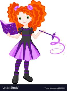 Little Witch Royalty Free Vector Image - VectorStock Free Vector Images, Vector Art, Superhero Clipart, Magic Book, Character Portraits, Single Image, Adobe Illustrator, Disney Characters, Fictional Characters