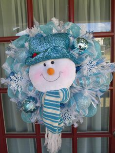Christmas Light Blue, Turquoise and White Snowman Deco Mesh Wreath on Etsy, $89.00