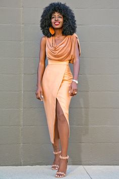 Style Pantry | Cowl Neck Blouse + Tan Front Slit Midi Skirt
