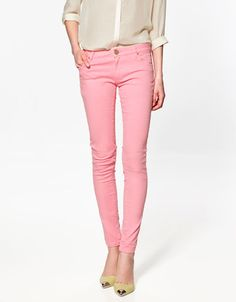Loving the colored jeans...wonder if they're dressy enough for work?