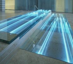 "Mikyoung Kim, ""River of Light,"" illuminated glass treads on staircase, United States Courthouse, Wheeling, WV, USA."
