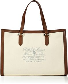 POLO RALPH LAUREN Beige Natural Canvas/Leather Tote