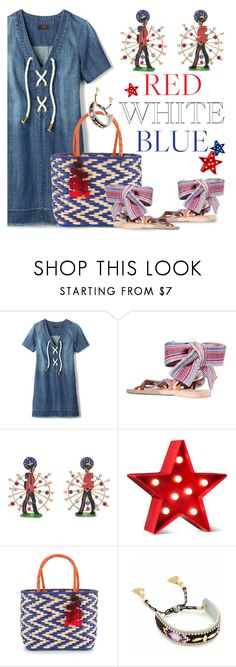 """July 4th Holiday"" by petalp ❤ liked on Polyvore featuring Avon, Brother Vellies, Francesca Villa, POPTIMISM!, Nannacay, Rebecca Minkoff, denim and dress"