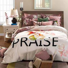 Elegant Cotton Floral Praise-Print Comforter/Cover 4-PC Set 2 Sizes