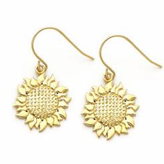 Gold Sunflower Earrings!