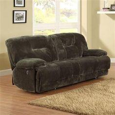 Geoffrey Chocolate Fabric Power Double Reclining Sofa