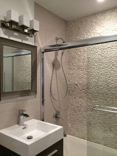 Before & After: Marina's Custom Pebbled Bathroom — The Big Reveal Room Makeover Contest 2015