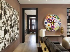 Pop and color with elegance. Takashi Murakami image in room. Put the Akira painting somewhere similar to this.