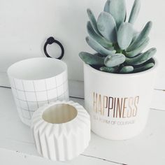 Bloomingville Happiness Flowerpot White Gold