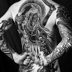 Blackwork backpiece by Alexander Grim. Kali Tattoo, Backpiece Tattoo, Tattoo Ink, Back Tattoos, Life Tattoos, Body Art Tattoos, Sleeve Tattoos, Tatoos, Trendy Tattoos