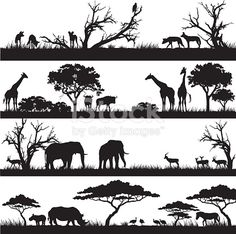 Four panels of african silhouettes with african wild animals in different habitats. Four panels of african silhouettes with african wild animals in different habitats. Animal Silhouette, Silhouette Vector, Silhouette Cameo, Africa Silhouette, Silhouette Drawings, African Animals, African Safari, Afrika Tattoos, Doodle Drawing