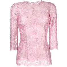 Dolce & Gabbana floral lace blouse ($1,975) ❤ liked on Polyvore featuring tops, blouses, pink lace blouse, embellished tops, summer tops, floral lace blouse and 3/4 sleeve lace top