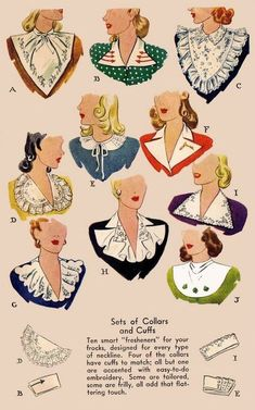Collar and cuff patterns | Vintage1940s #vintage #1940s: