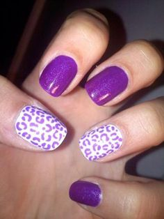 Cute Purple Cheetah Print Nails! I love that the animal print design is on the ring finger and thumb!