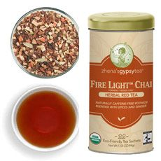 Fire Light Chai by zhena'sgypsytea  Some of the best chai I've ever had! Brewed it with a bag of PG tips black. Added some sugar and a splash of milk. Delicious!