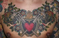 Tattoos - Traditional American tattoos - Guns and heart chestpiece