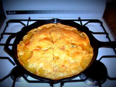 Delicious Chicken Potpie made in a cast iron skillet.