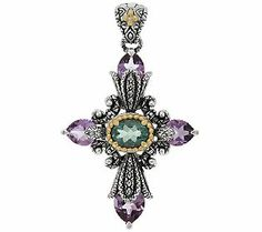 Barbara Bixby Sterling & 18K Multi-Gemstone Cross Enhancer