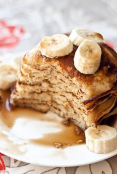 These fluffy banana pancakes are topped with an incredibly easy to make, yet delicious, coconut caramel syrup made with just three easy to find ingredients.