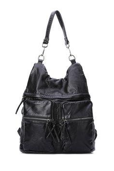 799cb7627973 Black Zipper Embossing Shoulder Bag Basic Outfits