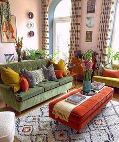 Dream Home Design, Home Interior Design, Bohemian Interior Design, Colorful Interior Design, Colorful Interiors, House Design, Living Room Decor, Bedroom Decor, Hippie Living Room