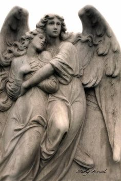 Angel Art - Guardian Angels Loving Embrace Print By Kathy Fornal