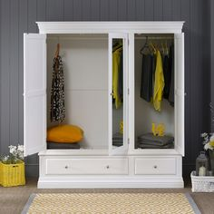 Georgian White Painted 3 Door 2 Drawer Triple Wardrobe with Mirror