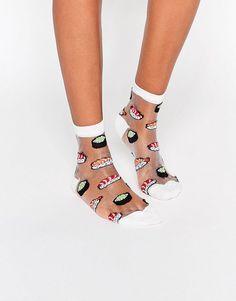 Bild 1 von ASOS – Transparente Socken mit Sushi-Design