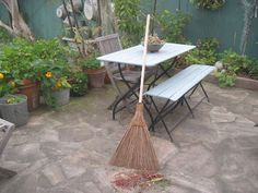 http://theoriginalgardenbroom.com at the San Francisco Flower and Garden Show. This is a sustainable product, made and traded ethically, and it works. It is the mid-rib of coconut palm leaves. Great on decomposed granite (doesn't stir it up), and great on pathways.