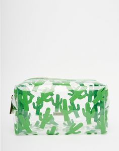 Image 1 of Skinnydip ASOS Exclusive Glitter Cactus Print Makeup Bag