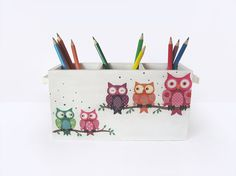 Owl pencil holder. Funny Colorful Desk Caddy. Wooden desk organizer. Kids Office decor. Pencil Cup Stationery Holder. Christmas School Gift.